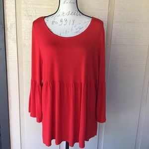 📌3/$20- Avenue- Red Ruffled Tunic Top